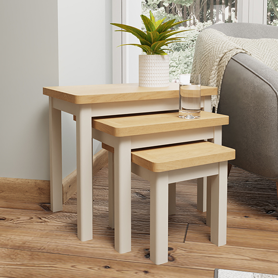 View Rosemont wooden nest of 3 tables in dove grey