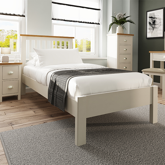 View Rosemont wooden single bed in dove grey
