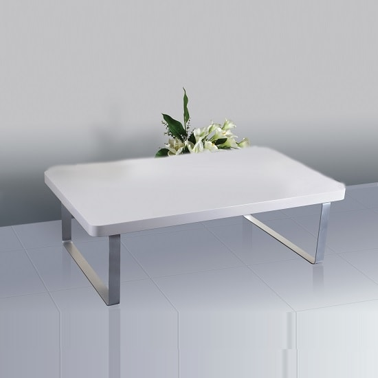 Roseta Coffee Table In White High Gloss With Steel Legs