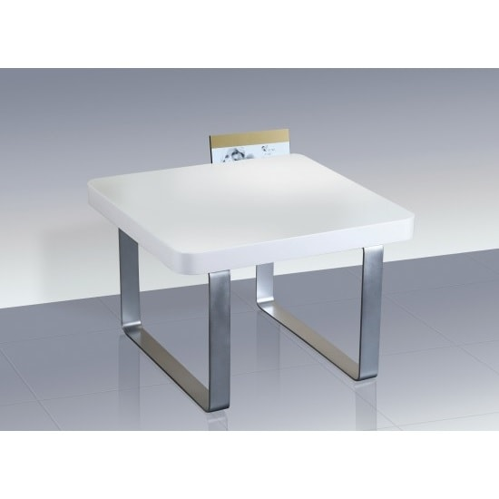 Roseta End Table Square In White High Gloss With Steel Legs