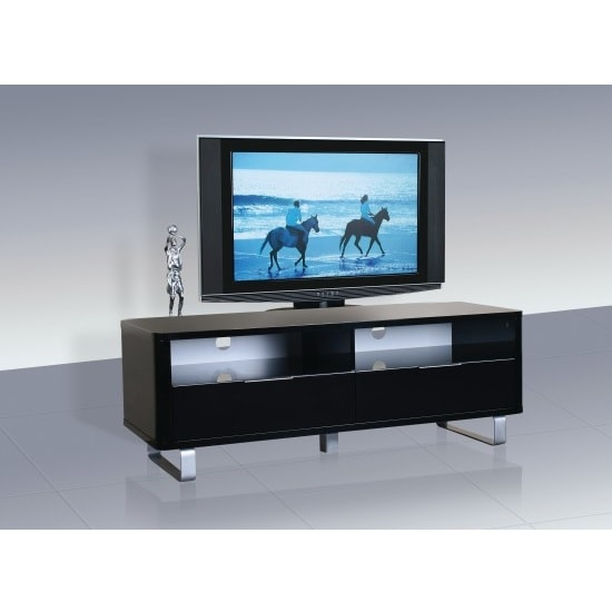 Roseta TV Stand Rectangular In Black High Gloss With Steel Legs