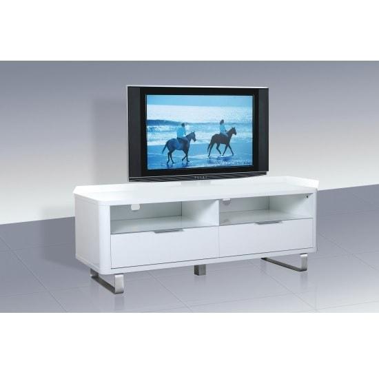 Roseta TV Stand Rectangular In White High Gloss With Steel Legs