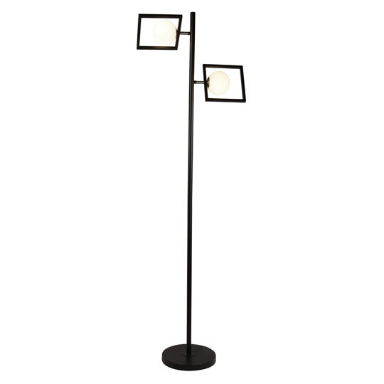 Rosewell 2 Lights Floor Lamp In Matt Black And Opal