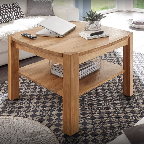 Rosie Coffee Table Square In Knotty Oak With Undershelf