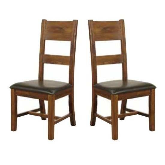 Ross Ladderback Faux Leather Dining Chair In Acacia In A Pair_1