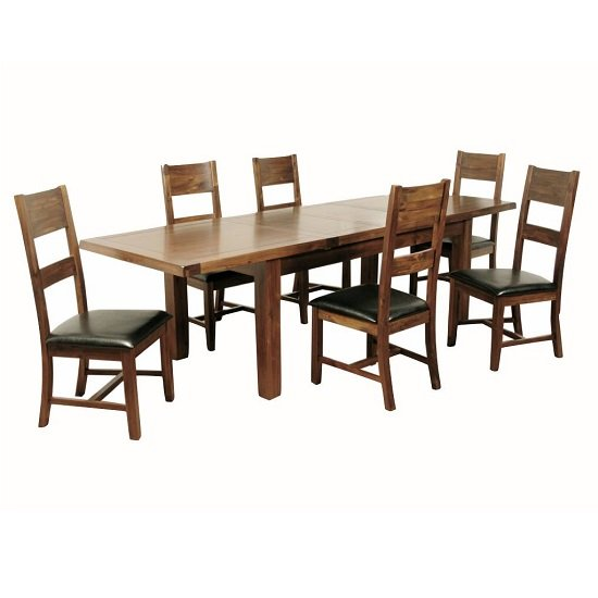 Product photograph showing Ross Large Wooden Extending Dining Table In Acacia Finish