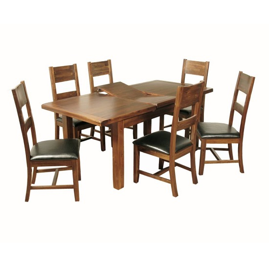 Ross Medium Wooden Extending Dining Table In Acacia Finish_1