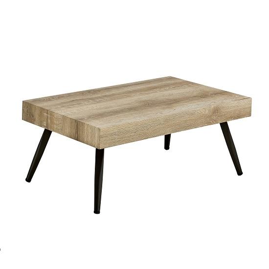 Rossdale Wooden Coffee Table In Wild Oak With Black Metal Legs