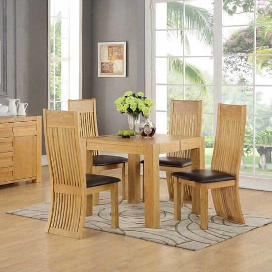 Rossdale Square Dining Table In Solid Oak With 4 Chairs