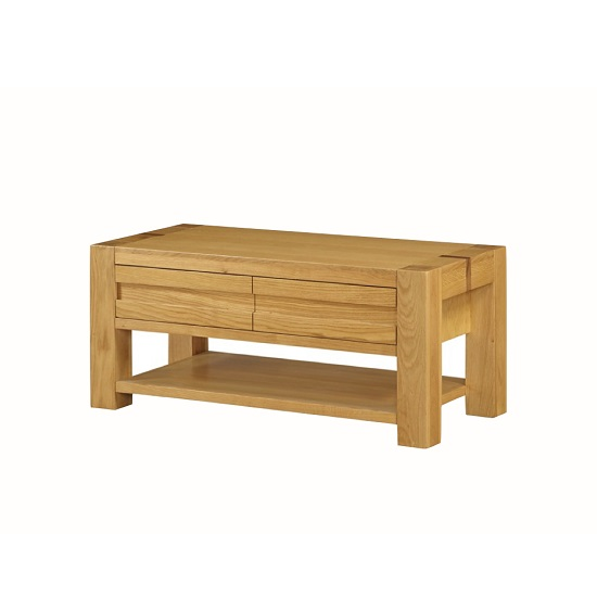 Rossdale Wooden Coffee Table In Solid Oak With 2 Drawers