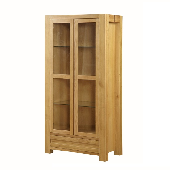 Rossdale Wooden Display Cabinet In Solid Oak With 2 Doors