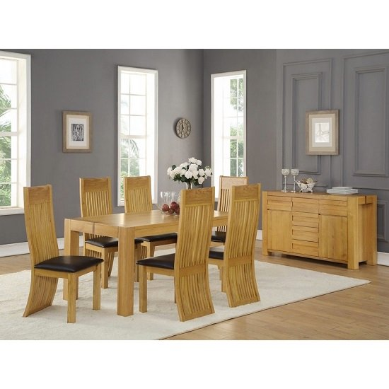 Rossdale Rectangular Dining Table In Solid Oak With 6 Chairs_2