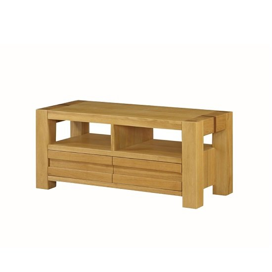 Rossdale Wooden TV Stand In Solid Oak With 2 Drawers