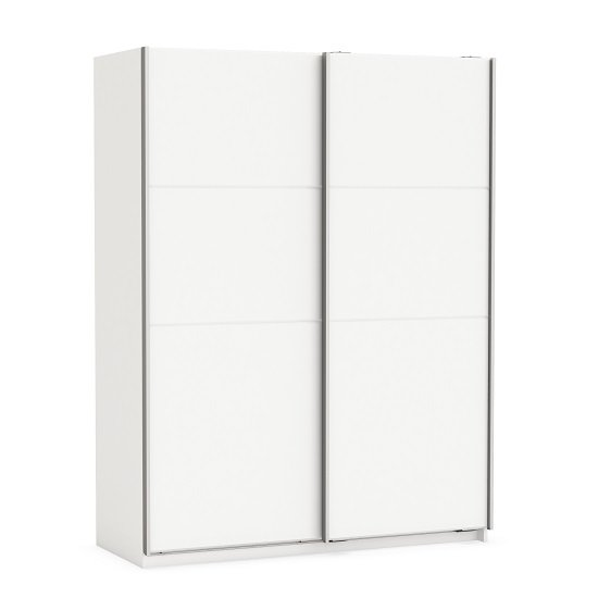 Rossett Wooden Wardrobe Large In Pearl White And Linen
