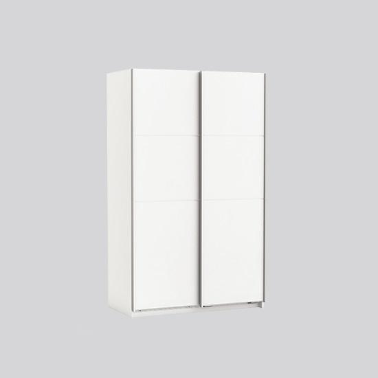 Rossett Wooden Sliding Wardrobe In Pearl White And Linen