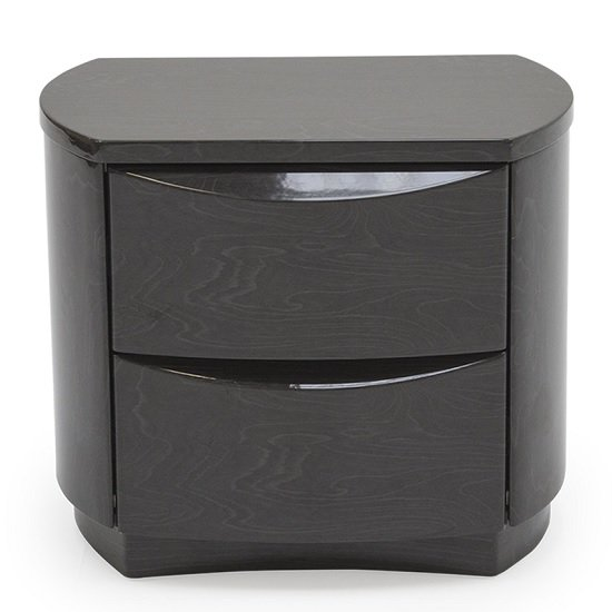 Rossetto Bedside Cabinet In Grey High Gloss With 2 Drawers_4