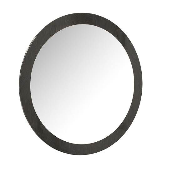 Rossetto Wall Mirror Round With Grey High Gloss Frame