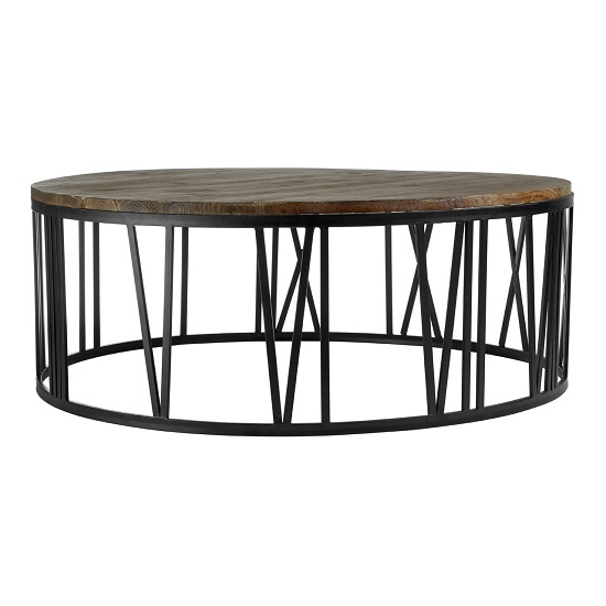 Rossi Wooden Coffee Table Round With Black Metal Base