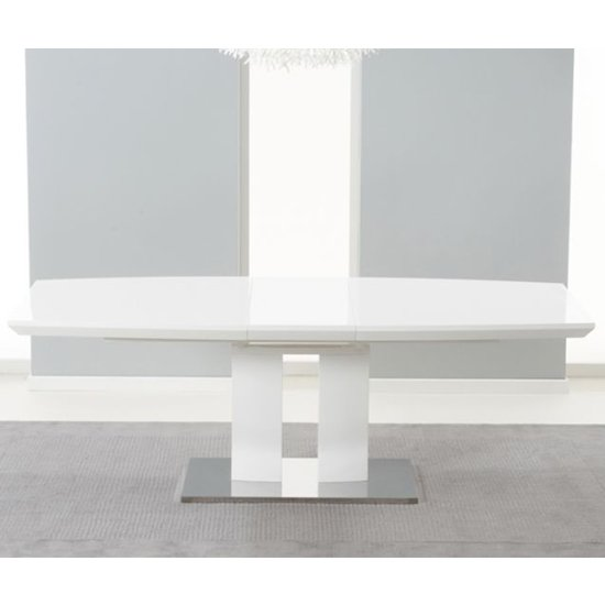 Rossini Extending Wooden Dining Table In White High Gloss