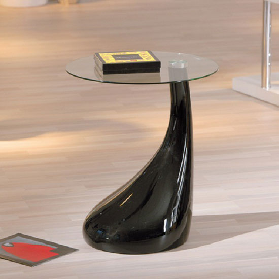 Rossini Glass Top Lamp Table With Black Gloss Base