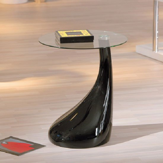 Black Glass Lamp Tables: Rossini Glass Top Lamp Table With Black Gloss Base,Lighting