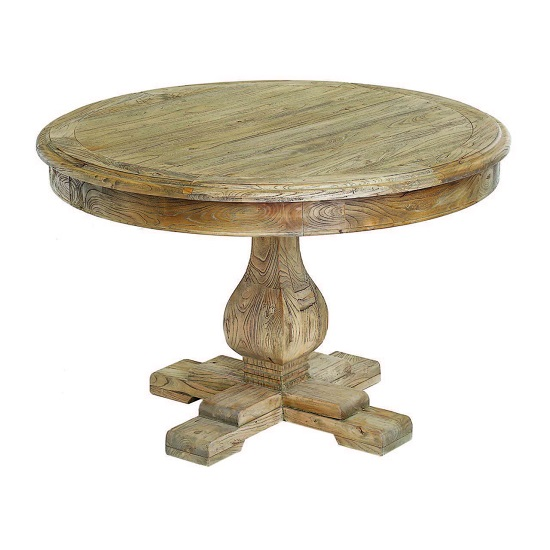 Rossini Wooden Vintage Dining Table Round In Natural
