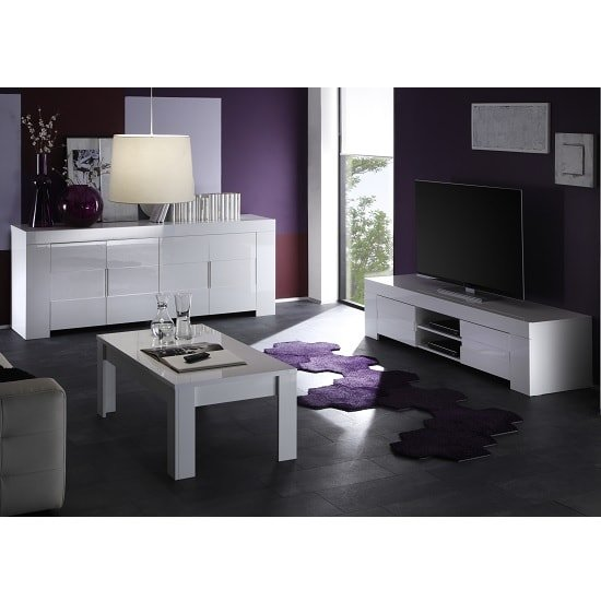 Rossini Wide TV Stand In White Gloss With 2 Drawers_2