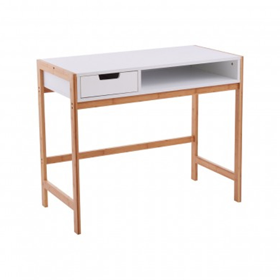 Rosta Wooden Computer Desk In White And Natural