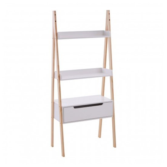 View Rosta wooden shelving storage unit in white and natural