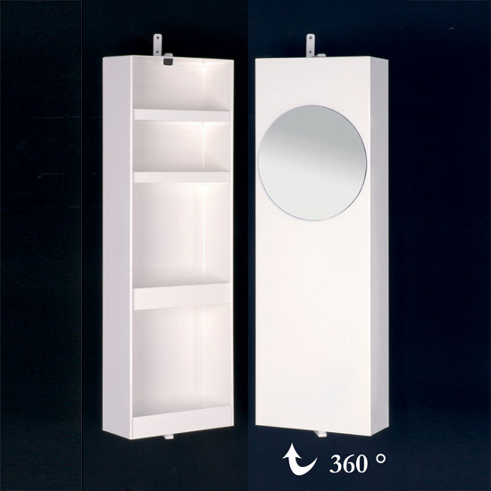 Ambros Small White Wall Mounting Rotating Bathroom Cabinet