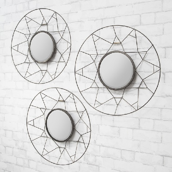 Rothbury Decorative Trio Wall Mirror Round In Black Frame
