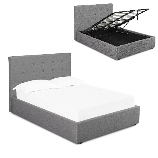 Rother Storage King Size Bed In Upholstered Grey Fabric