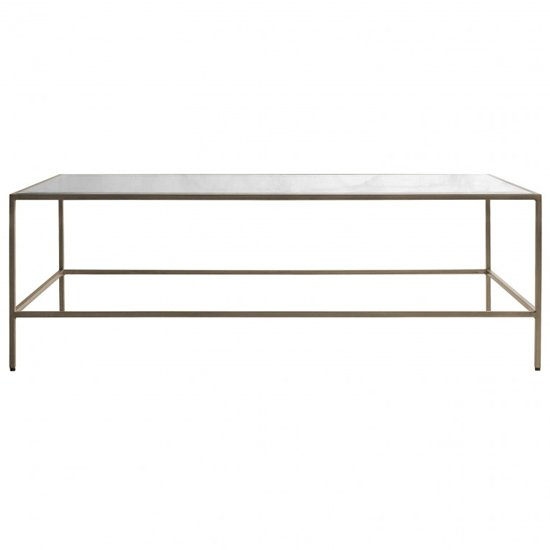 Rothmont Clear Glass Coffee Table With Champagne Metal Frame