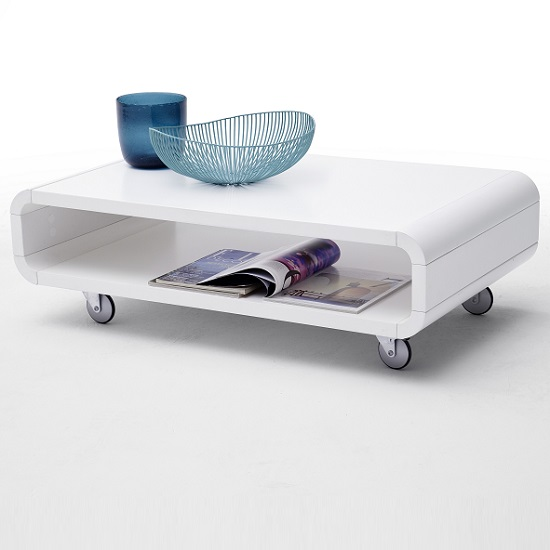 Rothwell Coffee Table Rectangular In Matt White With Rollers
