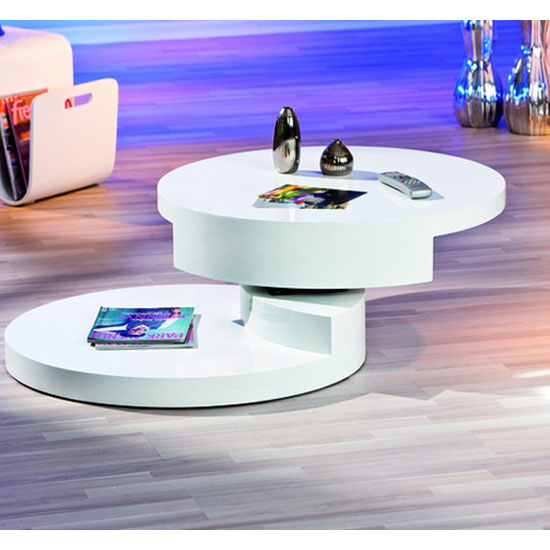 Annika White Gloss Coffee Table: Rotondi Round Swivel White High Gloss Coffee Table 19057