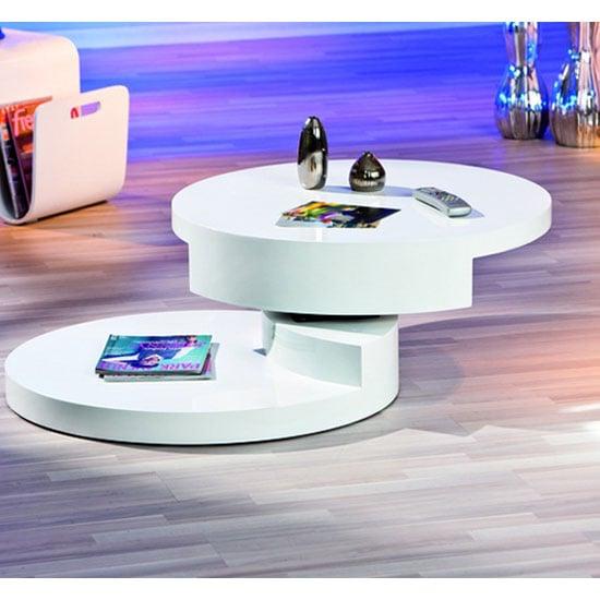 Coffee Table With Swivel: Rotondi Round Swivel White High Gloss Coffee Table 19057