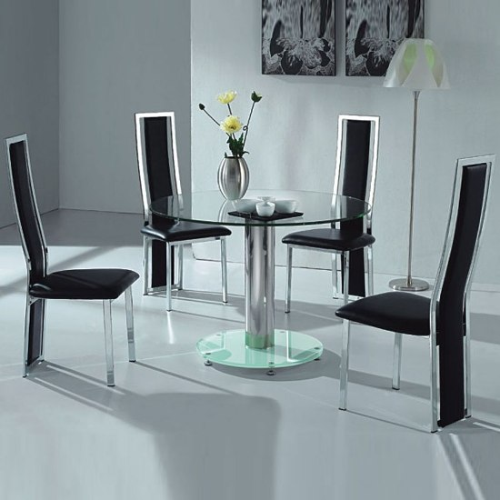 Toscana White High Gloss Coffee Table Tos01 15332 Furniture: VO1 Black Glass Round Dining Table With Four Chairs