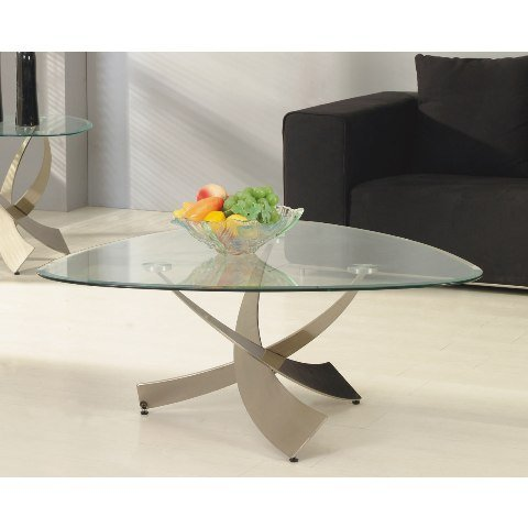 Mystique Glass Coffee Table With Criss Cross Base