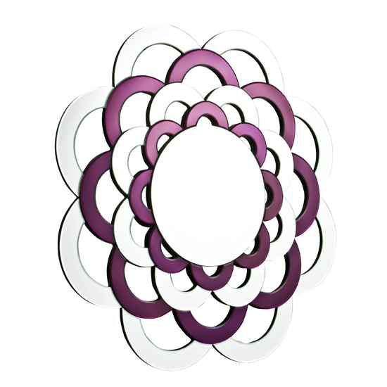 Round Purple and clear frame Wall Mirror