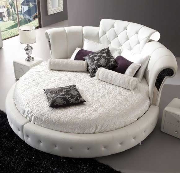 round luxury leather white bed - Large Round Bedroom Furniture: Playing With Shapes