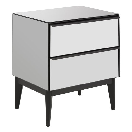 Mouhoun Bedside Cabinet In Mirrored Glass With 2 Drawer