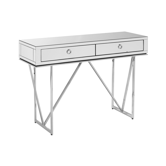 Mpingo Wooden Console Table In Silver With 2 Drawers