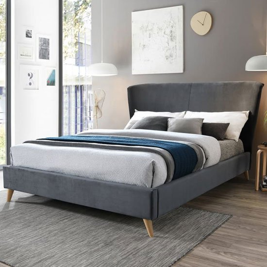 Rowan Fabric King Size Bed In Grey Velvet