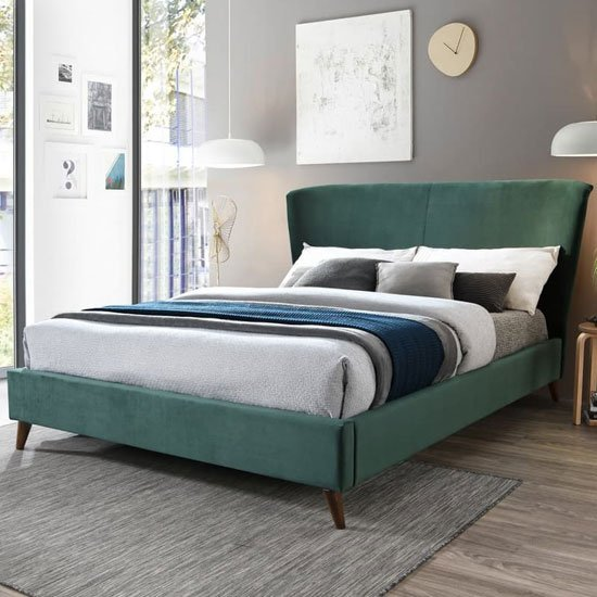 Rowan Fabric Small Double Bed In Green Velvet