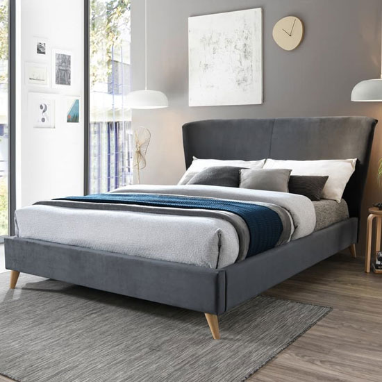 Rowan Fabric Small Double Bed In Grey Velvet