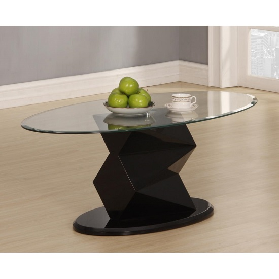 Aruba Coffee Table Oval In Clear Glass And Black High Gloss