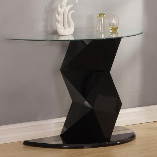 Aruba Console Table In Clear Glass And Black High Gloss