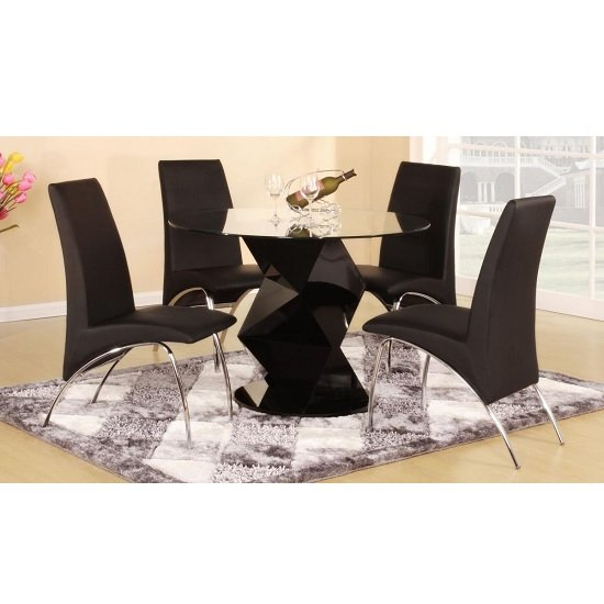 Aruba Dining Table In Clear Glass Gloss Black With 4 Chairs