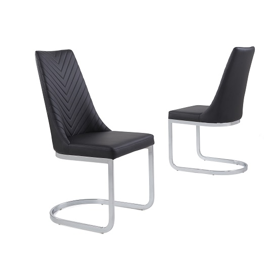 Roxy Modern Dining Chair In Black Faux Leather in A Pair