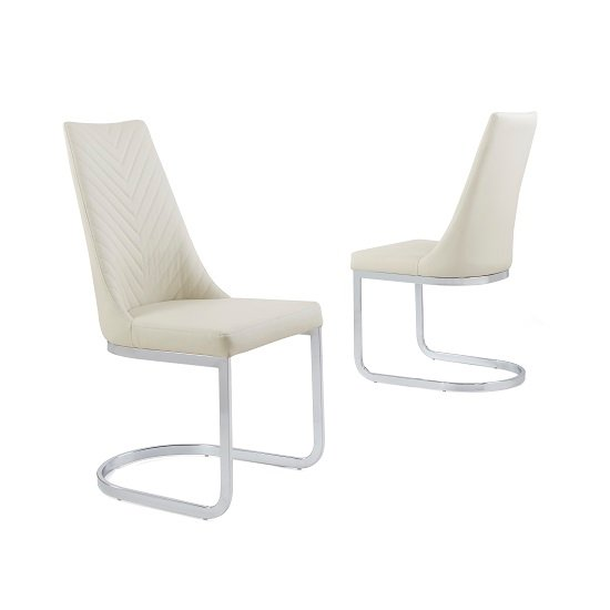 Roxy Modern Dining Chair In Cream Faux Leather in A Pair